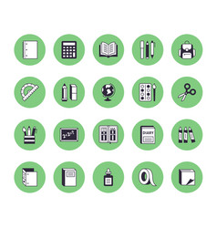 school supplies flat line icons set study tools vector image
