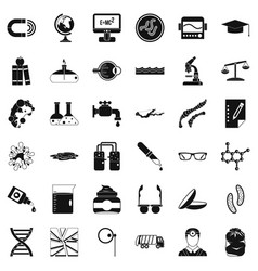 Scientific widget icons set simple style vector