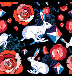 seamless bright pattern of jumping hares vector image