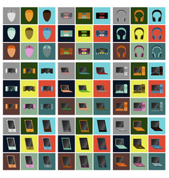 set icons in flat design electronic gadgets vector image