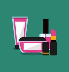 Set of makeup cosmetic womens vector