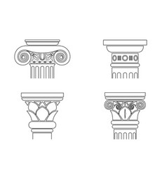 set of silhouettes of capitals vector image
