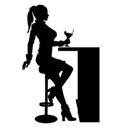 Silhouette woman sitting at the bar with cocktail vector image