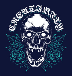 skull with roses grunge print design vector image