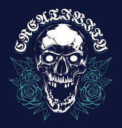 Skull with roses grunge print design vector