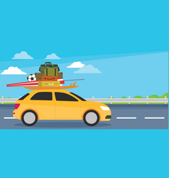 small car going for holiday welcome vacation vector image