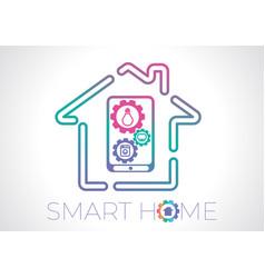 smart home concept flat logo vector image