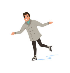 Smiling young man in warm clothes ice skating vector