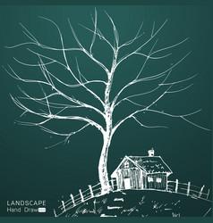 stylized landscape vector image