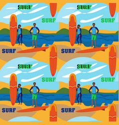 Surfers man and girl on a background sea vector