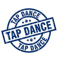 Tap dance blue round grunge stamp vector
