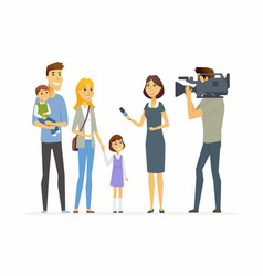Tv presenter interviewing young family - cartoon vector