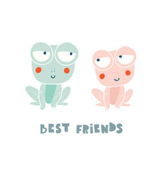 Two cute frogs characters isolated on white vector