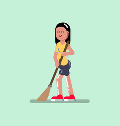Voluntire female clean up the streets vector