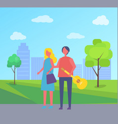 young couple walking in park cartoon skyscrapers vector image