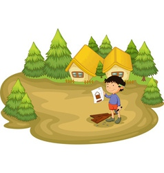carpenter in the woods vector image vector image