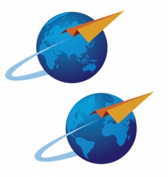 globe and airplane vector image vector image