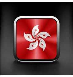 Hong Kong flag button on white vector image vector image