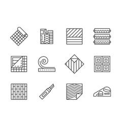 Linoleum flooring black line icons set vector image