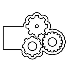 monochrome contour with gear of wheels and banner vector image