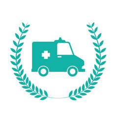 monochrome emblem with olive crown and ambulance vector image