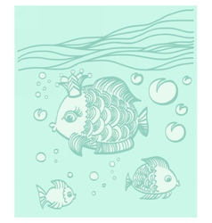 Gold fish with a crown in the sea environment vector image