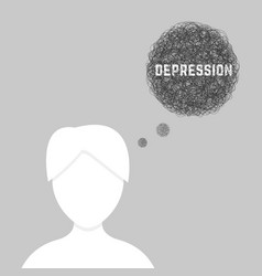 silhouette of woman in depression vector image