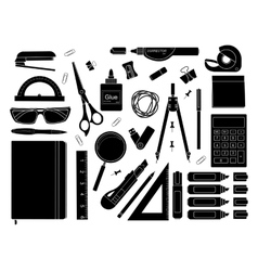 Stationery tools silhouettes vector image vector image