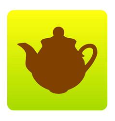 tea maker sign brown icon at green-yellow vector image vector image