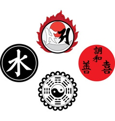 The Asian religious and magic symbols vector image vector image