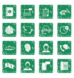 call center symbols icons set grunge vector image vector image