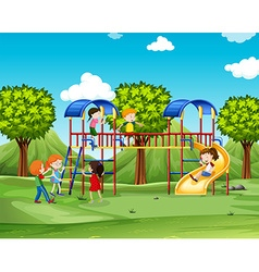 Children climbing up the playhouse vector image