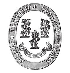 Connecticut Seal vintage engraving vector image vector image