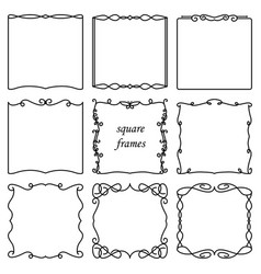 set of square vintage frames vector image