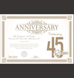 anniversary retro vintage background 45 years vector image vector image