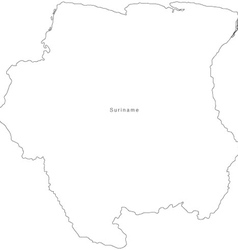 Black White Suriname Outline Map vector image vector image