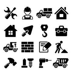 Construction Icons Set on White Background vector image