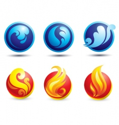 Fire and water web icons vector