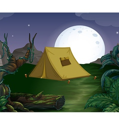 Tent and fullmoon vector image vector image