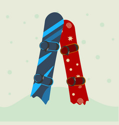 two snowboard in the snow vector image vector image