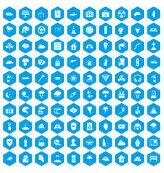 100 disaster icons set blue vector