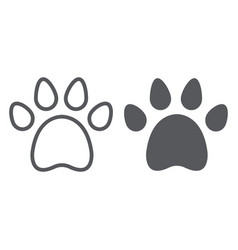 animal footprint line and glyph icon pet and vector image