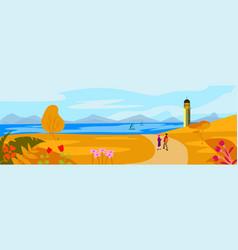 Autumn landscape concept with lighthouse on an vector