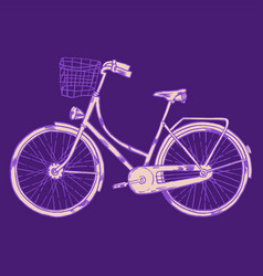 Bicycle with cart vector