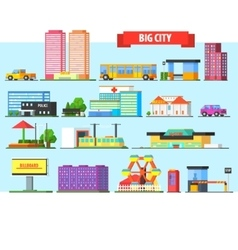 Big City Buildings Set vector