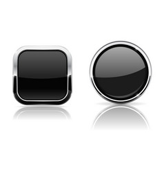 black buttons square and round 3d icons with vector image