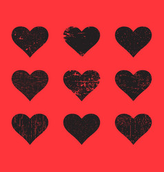 black grunge hearts set distressed texture heart vector image