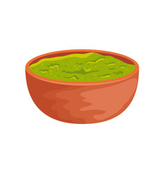 Bowl with delicious guacamole isolated icon vector