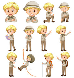 Boy in scout uniform doing different activities vector