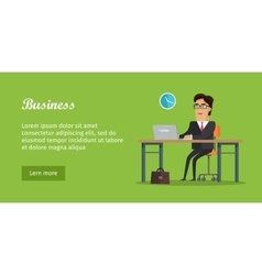 Business Banner Man Sitting on Chair at the Table vector image